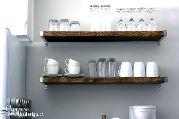 Kitchen Progress Open Wall Shelves