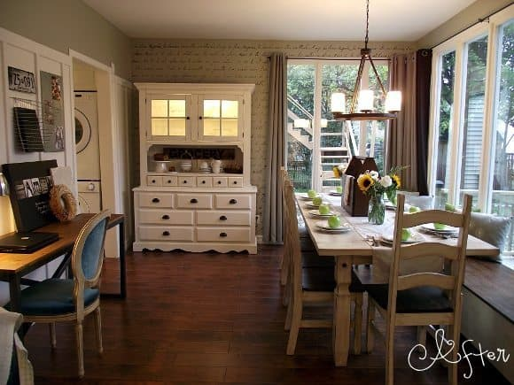 Modern country dining room blogger homes for Dining room office combo