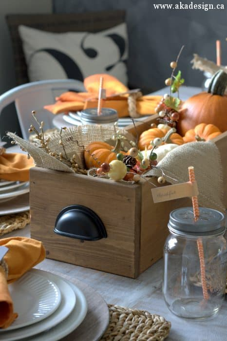 Thanksgiving fall table decorating