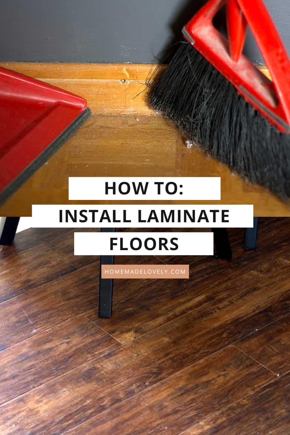 image showing before and after laminate flooring install with text overly