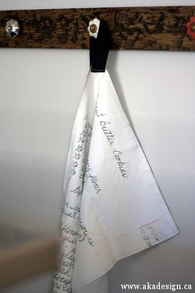 handwritten recipe tea towel