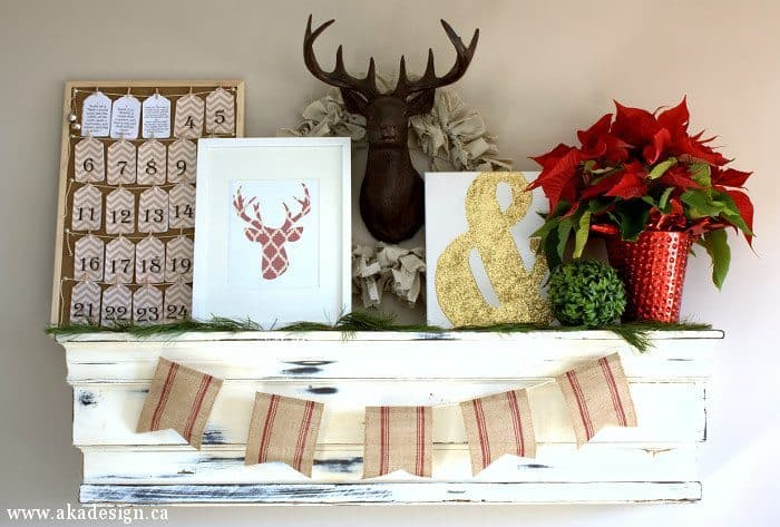 deer head christmas mantel