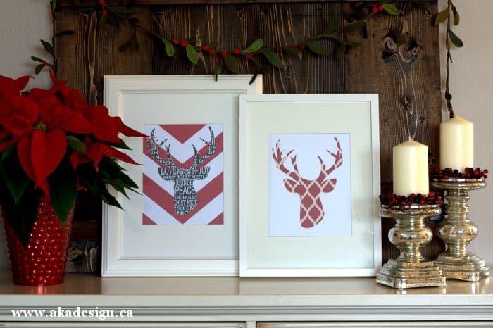 deer head silhouette printables framed