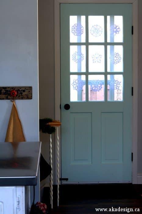 door window snowflakes