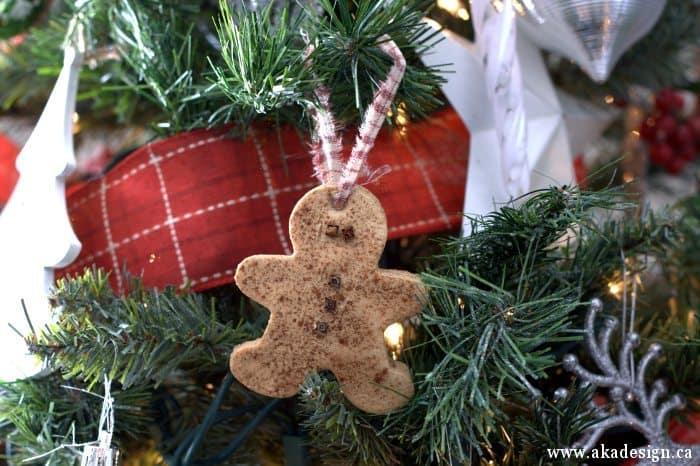 gingerbread salt dough ornament in tree