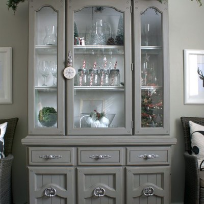 Painting Furniture With Latex Paint | Grey Tweed Hutch