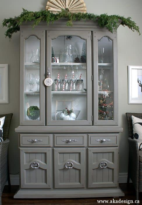 painting furniture with latex paint grey tweed hutch