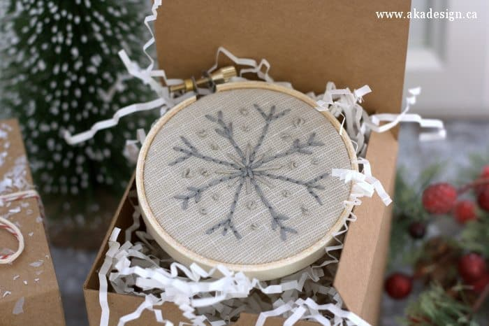 hand stitched snowflake embroidery hoop ornament