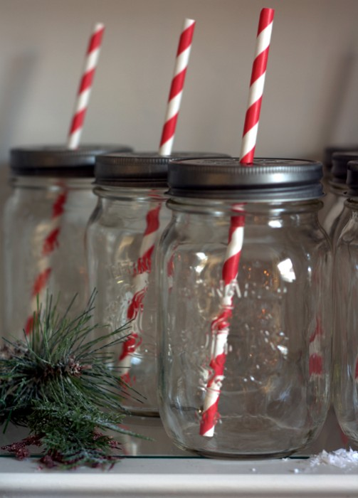 mason jar red stripe straws detail