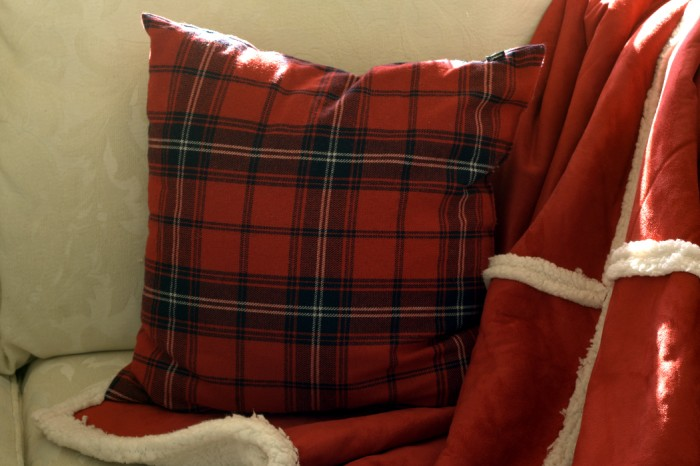 red plaid pillow detail