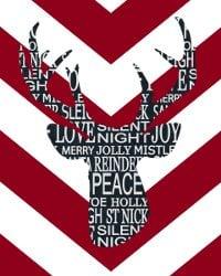 thumbnail deer silhouette red chevron chalkboard deer