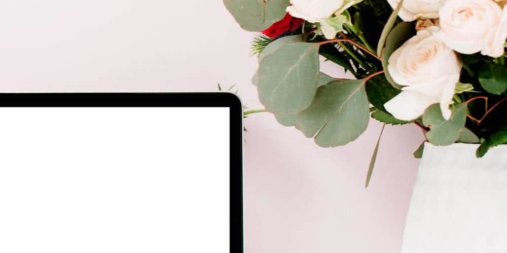 computer and flowers