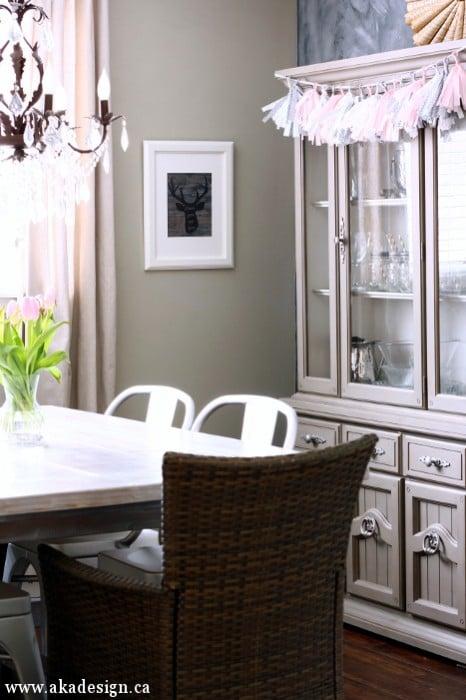 gray dining room pink tassel garland