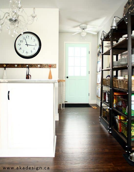 side door pantry shelves clock