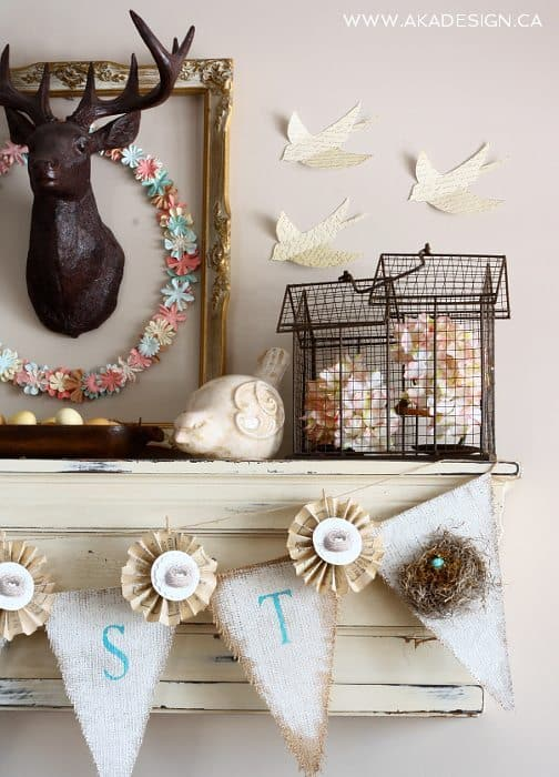SPRING mantel paper birds ceramic bird