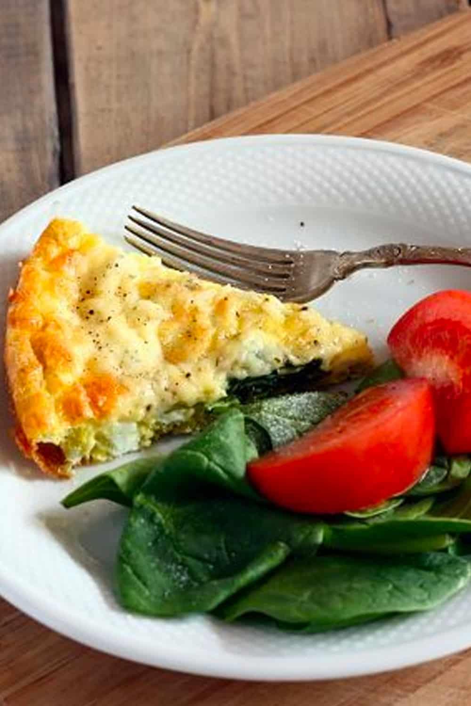 Spinach, Herb and Garlic Crustless Quiche Recipe