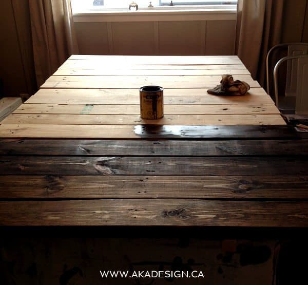 Using A Foam Brush Apply Dark Walnut Stain Going With The Grain To Wood In Well Ventilated Area Let Sit For 5 Minutes Wipe Off Excess Lint