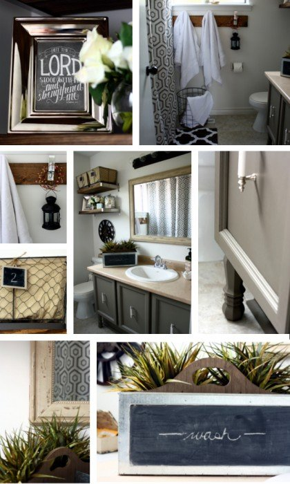 vintage industrial bathroom makeover collage 2
