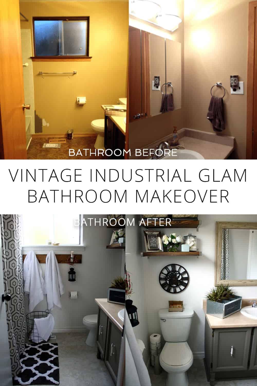 Nice vintage industrial glam bathroom reveal