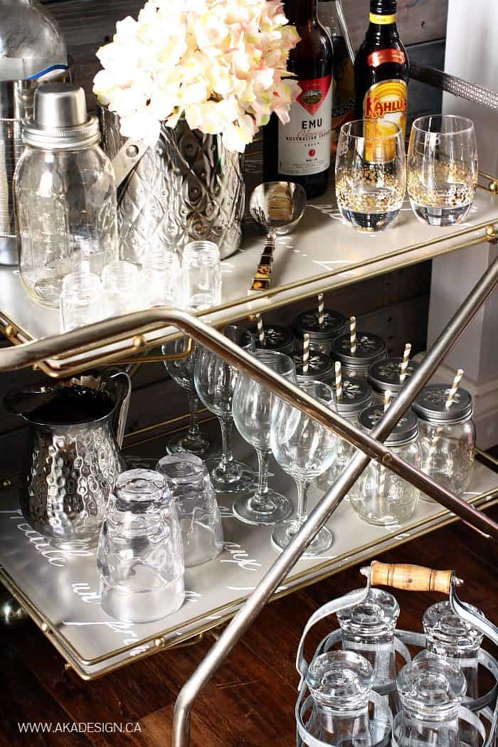 GLASSWARE ON BAR CART