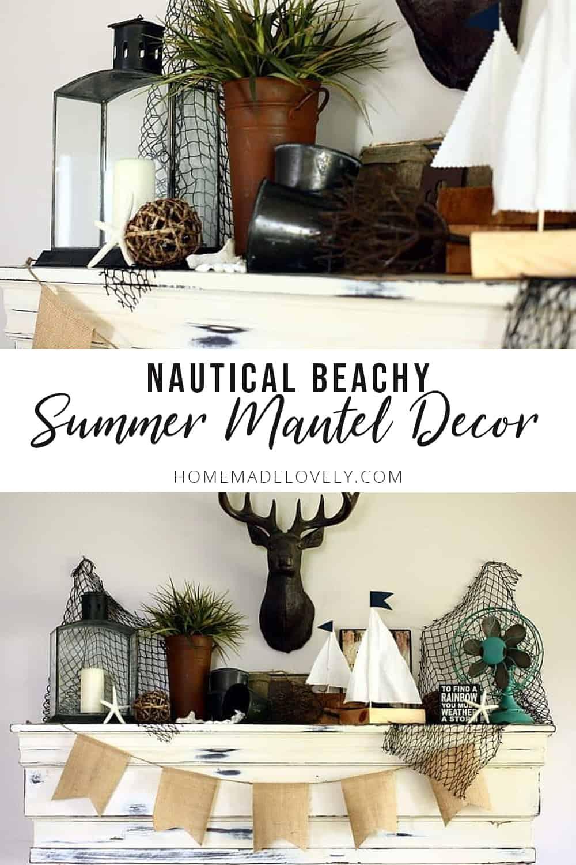 Nautical Beachy Summer Mantel | Elements of Summer
