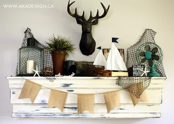nautical beachy summer mantel