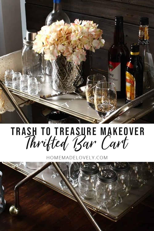 thrifted bar cart makeover