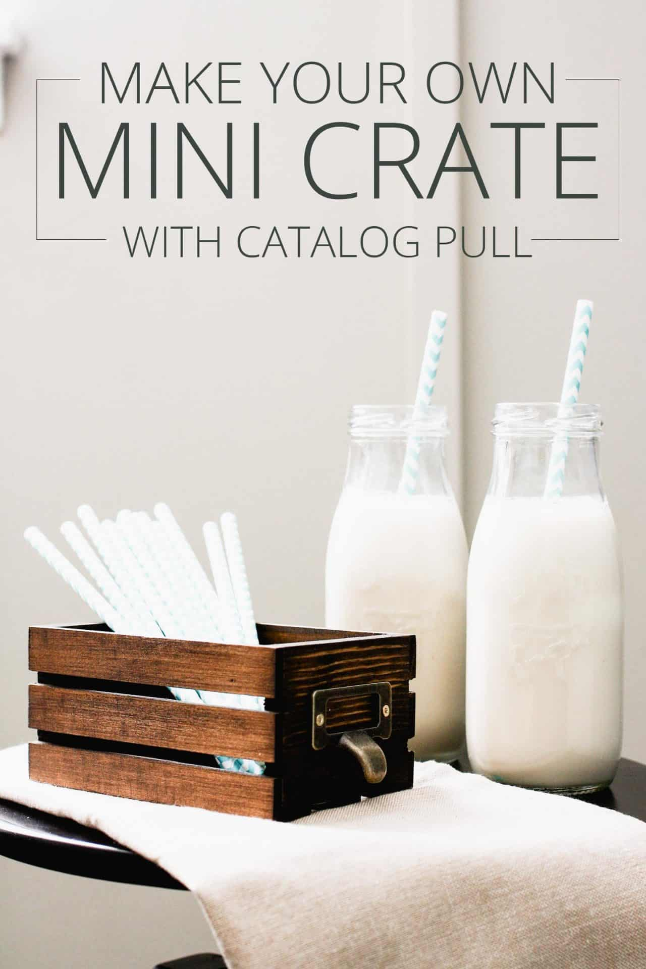 mini crate with pull, straws inside, two bottles of milk with straws