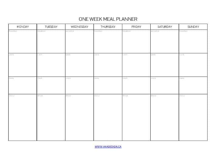 ONE WEEK MEAL PLANNER MONDAY START - AKA DESIGN