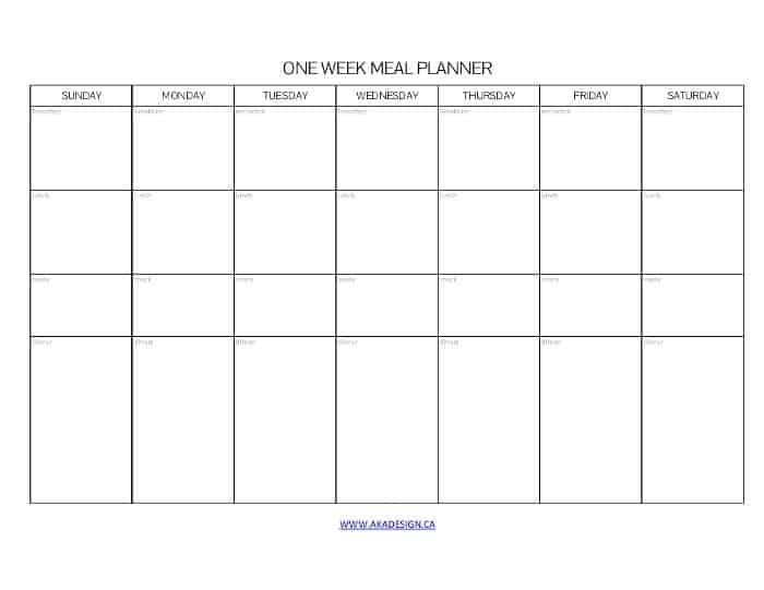 ONE WEEK MEAL PLANNER SUNDAY START - AKA DESIGN