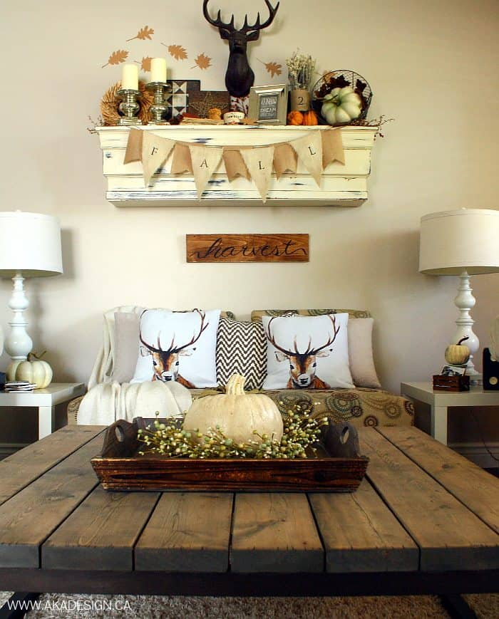 Rustic chic fall mantel - Rustic chic living room ...