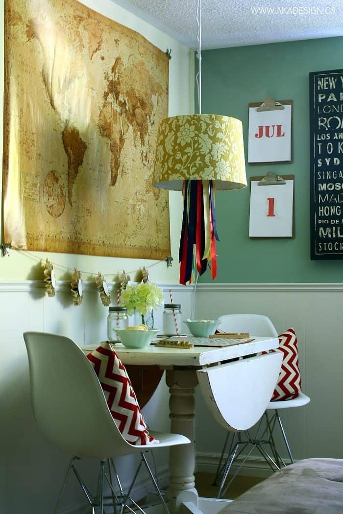 embellish lamp shade with ribbon