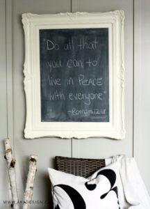 ornate framed chalkboard