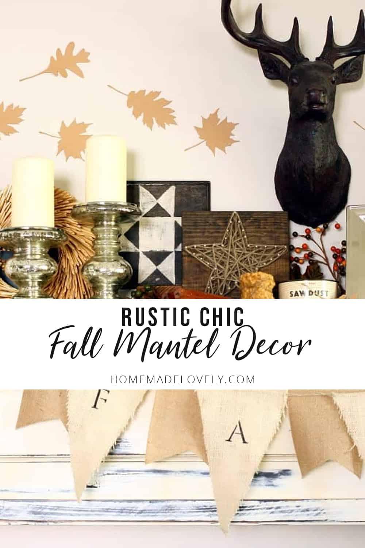 rustic chic fall mantel