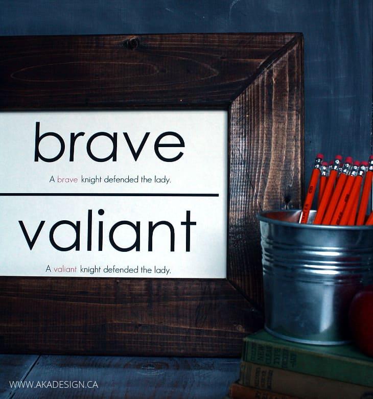 BRAVE VALIANT VOCABULARY CARD ART knight