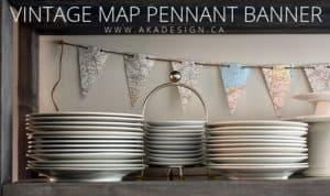 vintage map pennant banner