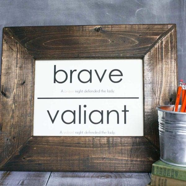 framed oversized flashcard, wood frame