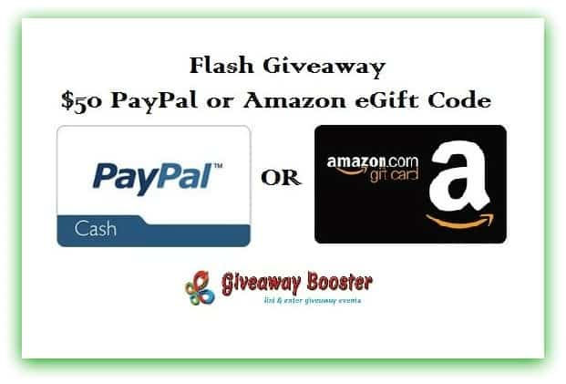 Flash Giveaway! $50 Amazon Giftcard or Paypal Cash!