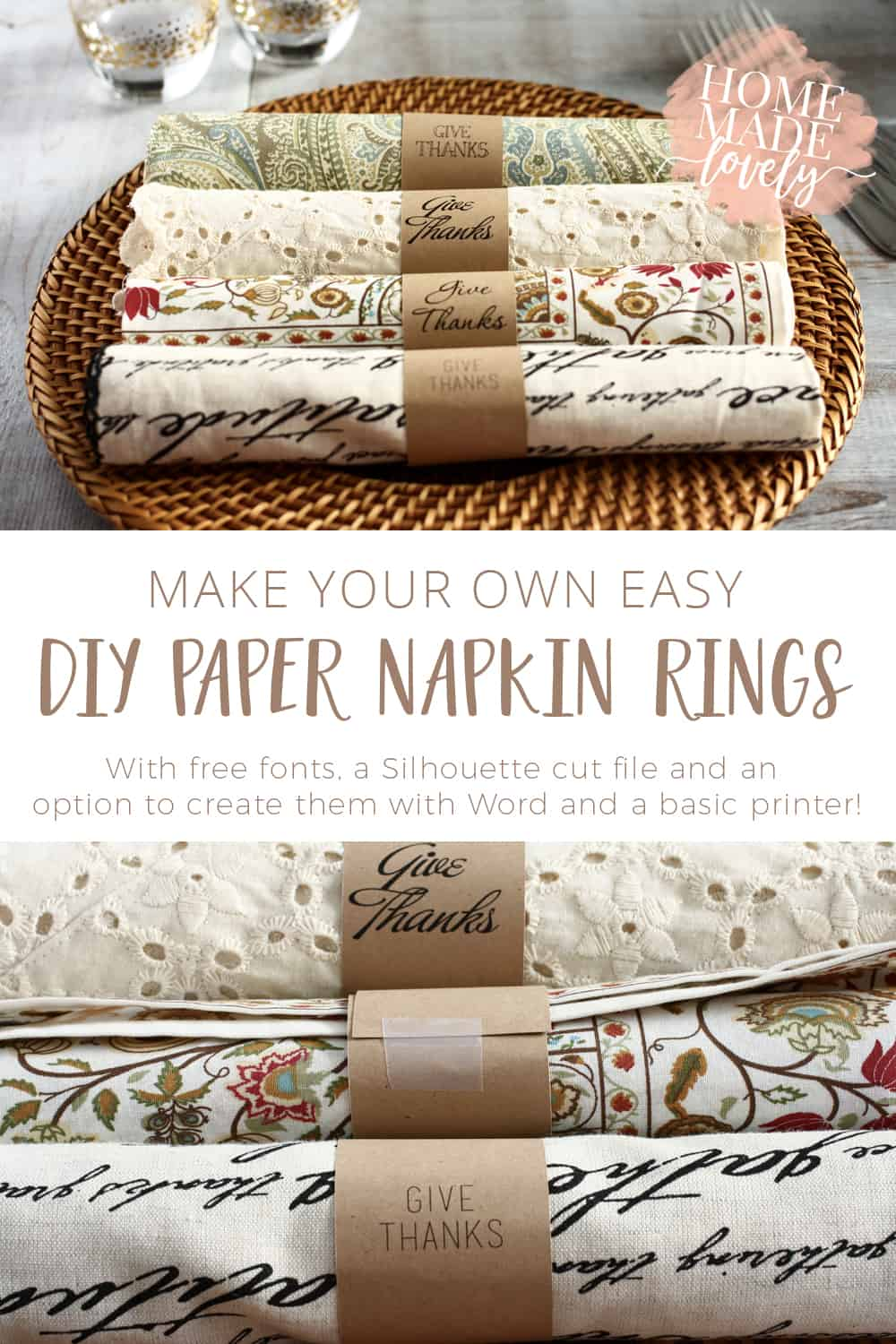 Easy Paper DIY Napkin Rings for Any Occasion + Fonts, Cut Files, Printable Template