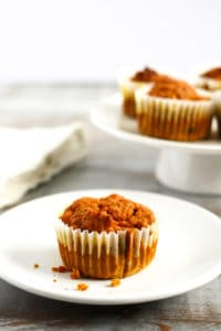muffins on cake stand and muffin on a plate