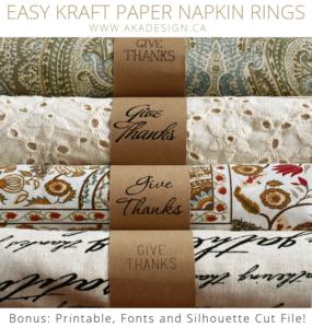 kraft paper napkin rings |www.akadesign.ca