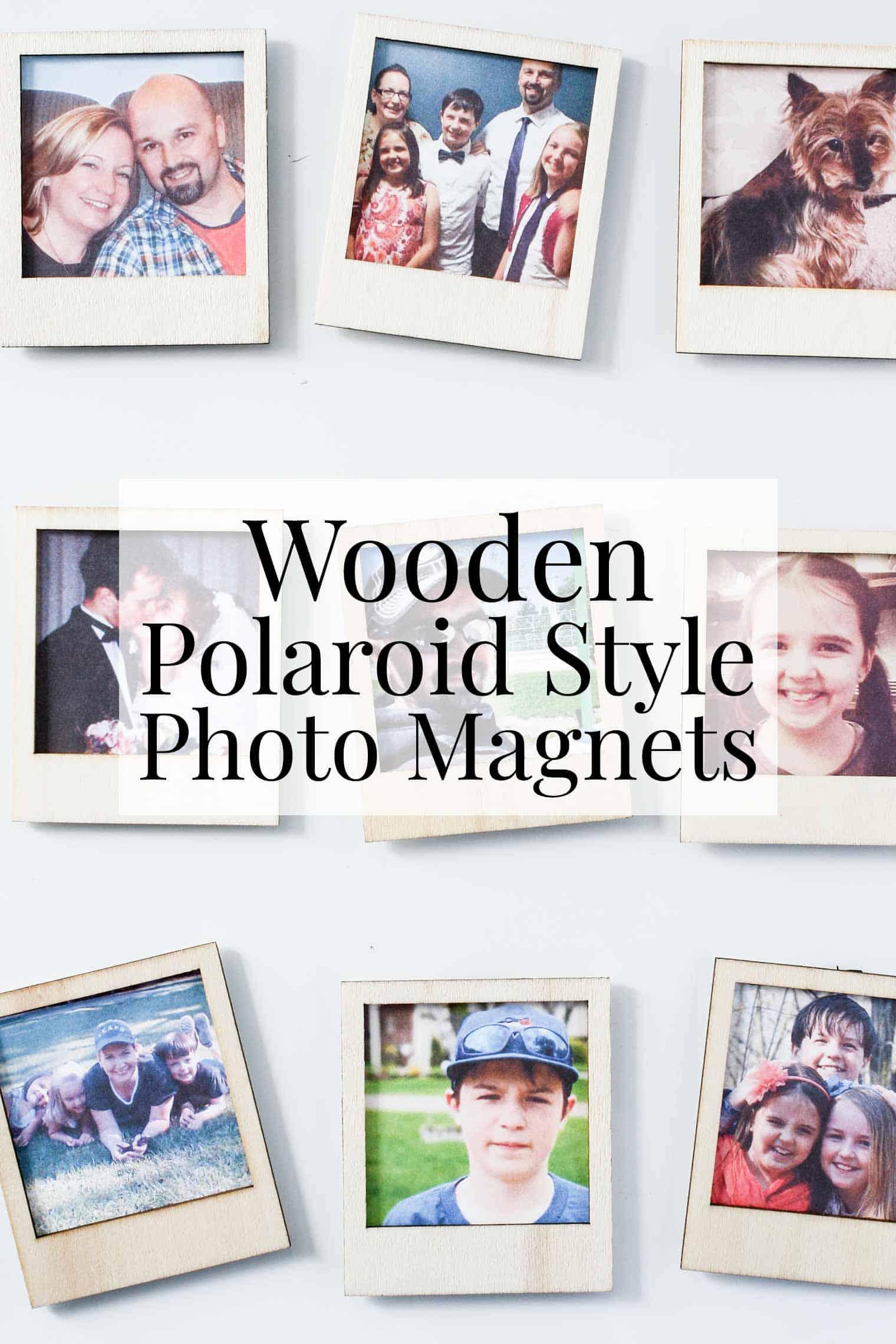 wooden Polaroid style framed family photos on the fridge