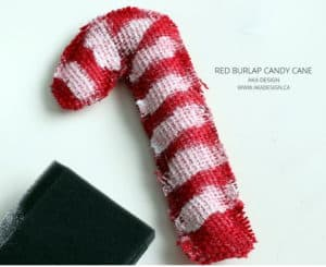 RED BURLAP CANDY CANE CRAFT
