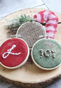 candy cane and burlap ornaments