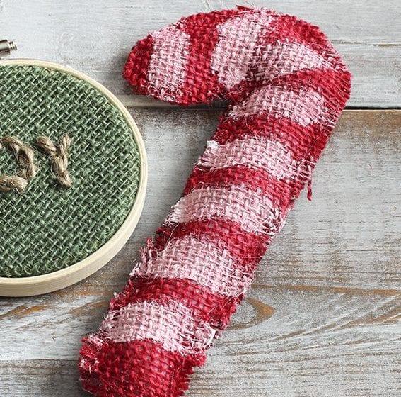 candy cane and joy burlap ornaments