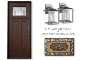 dark mahogany craftsman door with madeira glass