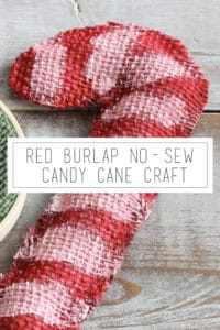 red burlap no-sew candy cane craft