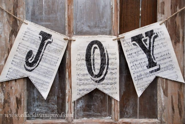 Vintage Sheet Music Christmas Banner