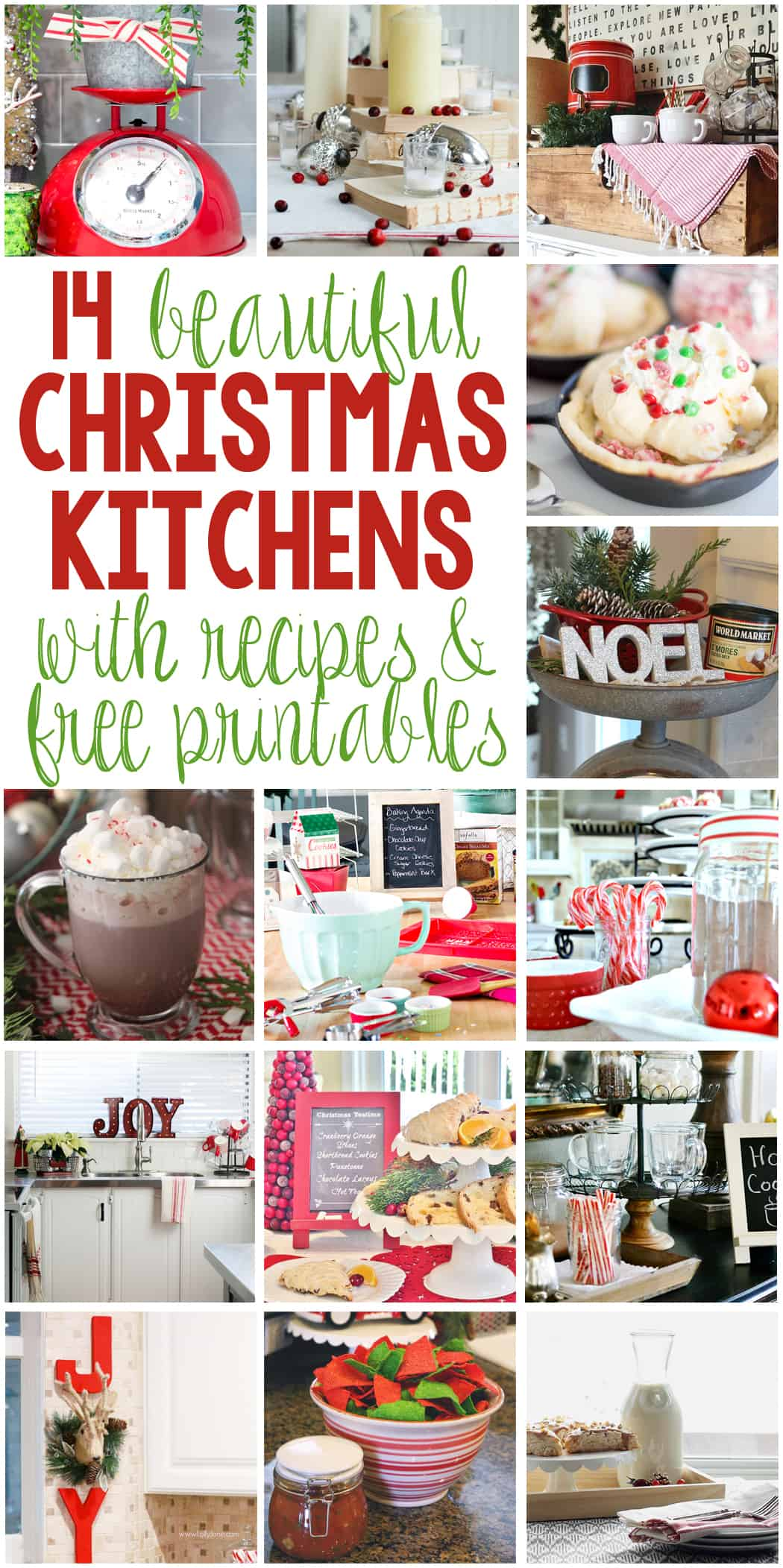 14 Beautiful Christmas Kitchens with Recipes and Free Printables