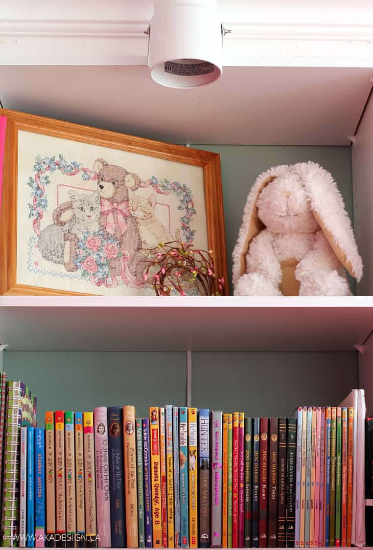 GIRLS ROOM CROSS STITCH AND STUFFED BUNNY